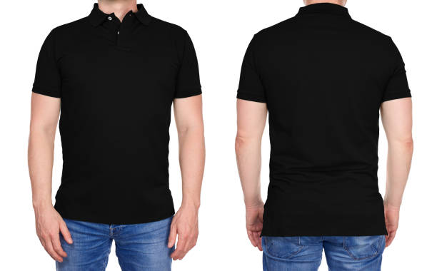 Man in blank black polo shirt front and rear stock photo