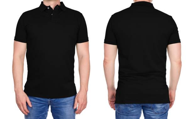 Hombre en negro en blanco de la camisa de polo delantero y posterior - foto de stock