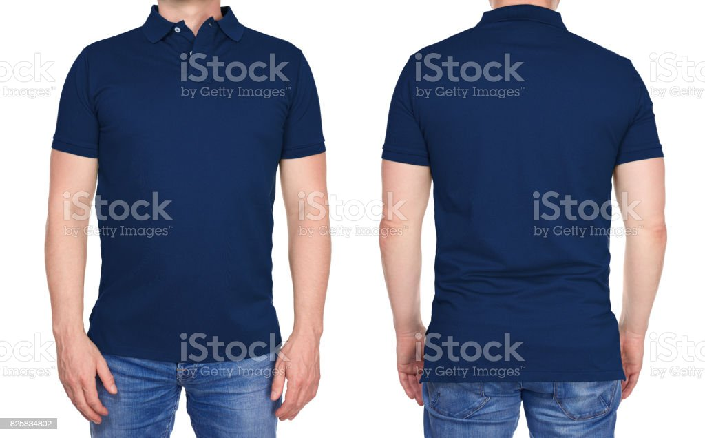 Man in blank dark blue polo shirt from front and rear stock photo