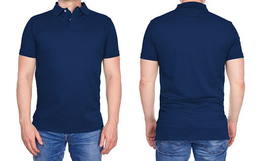 Man In Blank Dark Blue Polo Shirt From Front And Rear Stock