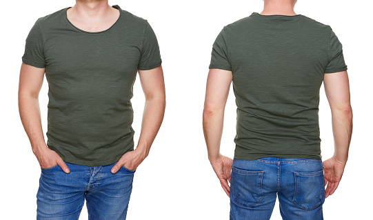 istock Man in blank khaki green tshirt front and rear isolated on white 956902014