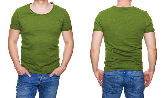istock Man in blank olive green tshirt front and rear isolated on white 956902034