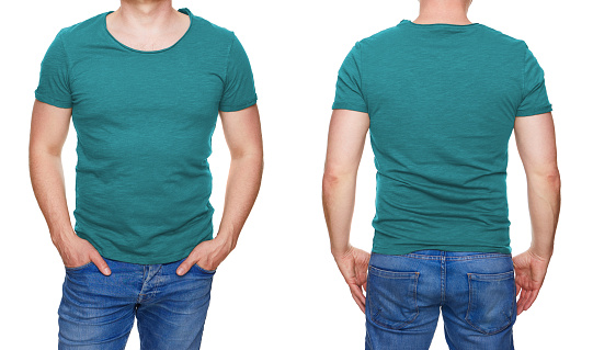 istock Man in blank turquoise tshirt front and rear isolated on white 956902084