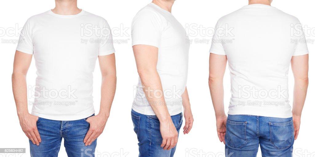 Man in lege witte tshirt voorkant, zijkant en achterzijde foto