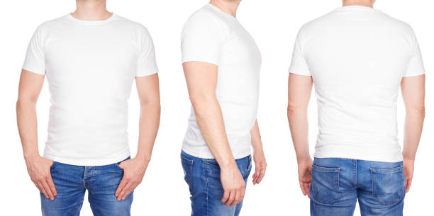 Man in blank white tshirt front, from side and rear stock photo