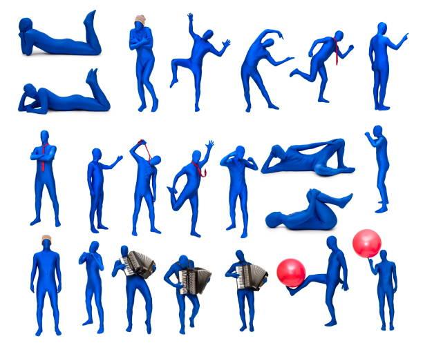 mann im blauen kostüm in verschiedenen posen - morphsuit stock-fotos und bilder