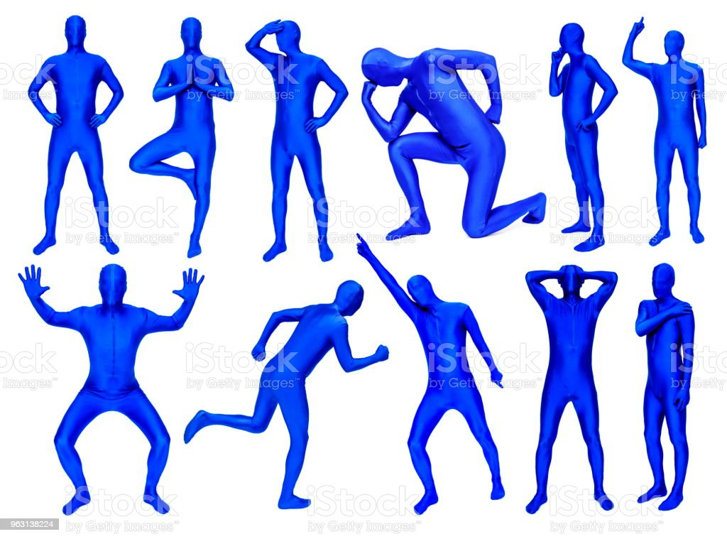 Man in blue costume in various poses stock photo