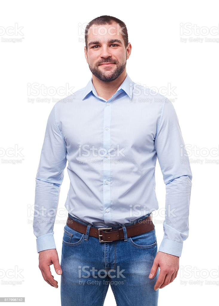 Man in blue shirt isolated on white royalty-free stock photo