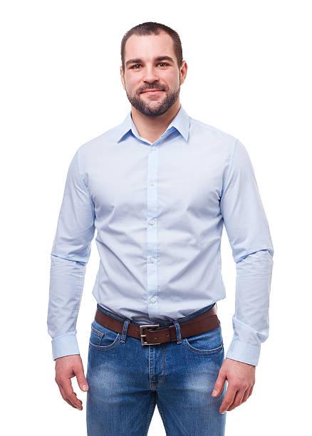 homem de camisa azul isolado no branco - camisa - fotografias e filmes do acervo