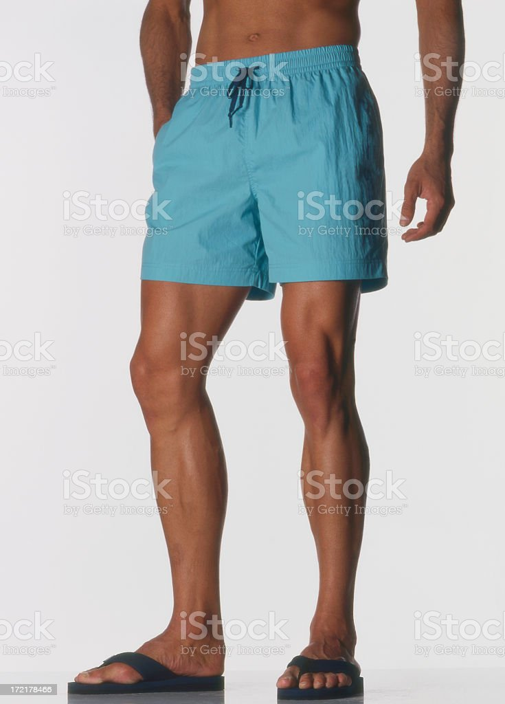 Man in blue shorts. stock photo