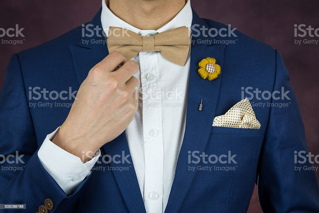 man in blue suit bowtie, brooch, handkerchief stock photo
