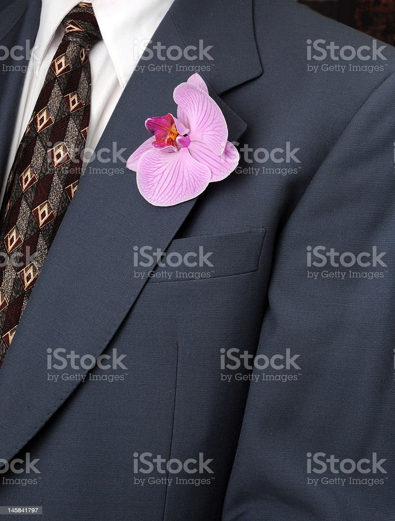 Man in blue suit with orchid royalty-free stock photo