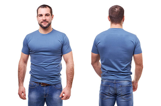 Man in blue t-shirt on white background stock photo