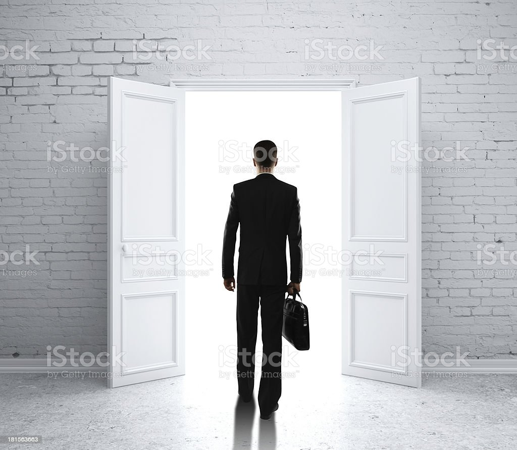 man in brick room royalty-free stock photo