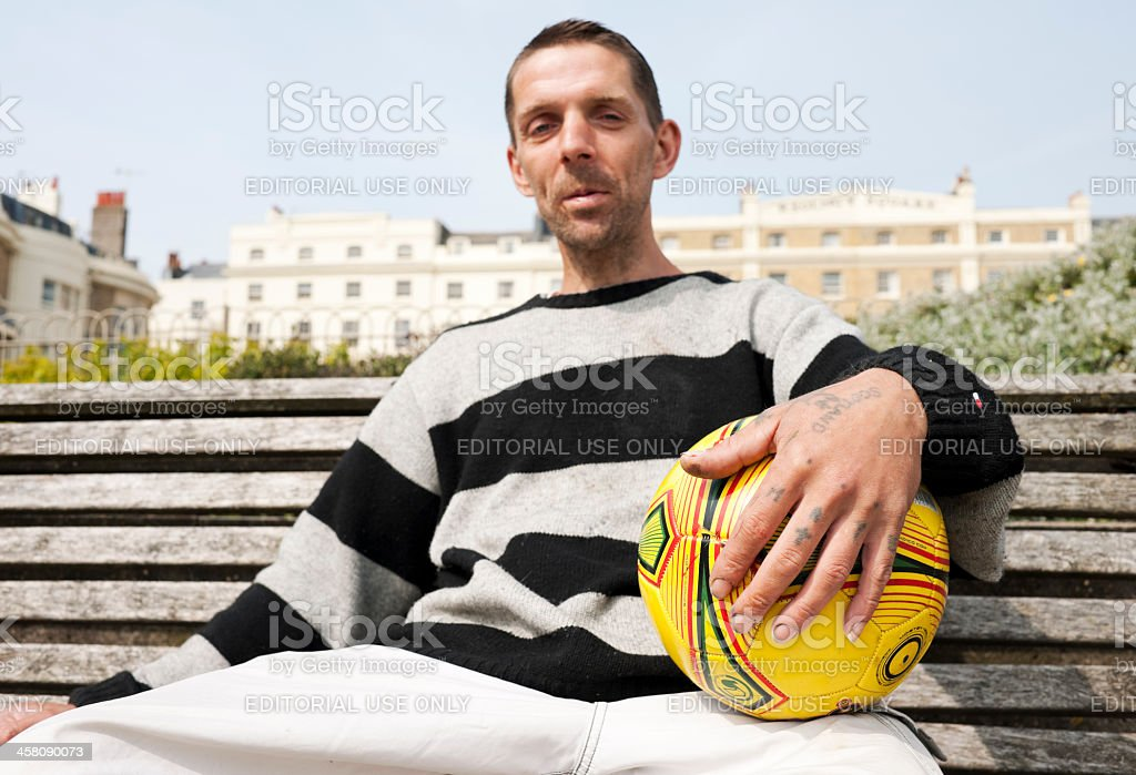 Man in Brighton Park, UK royalty-free stock photo