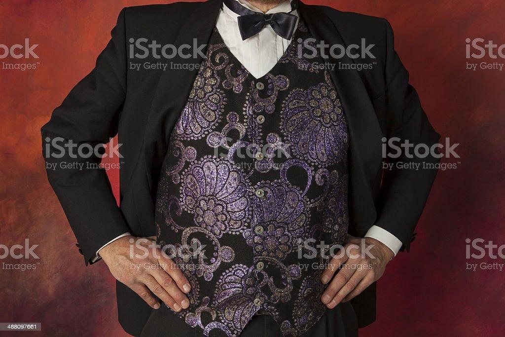 Man in brocade waistcoat stock photo
