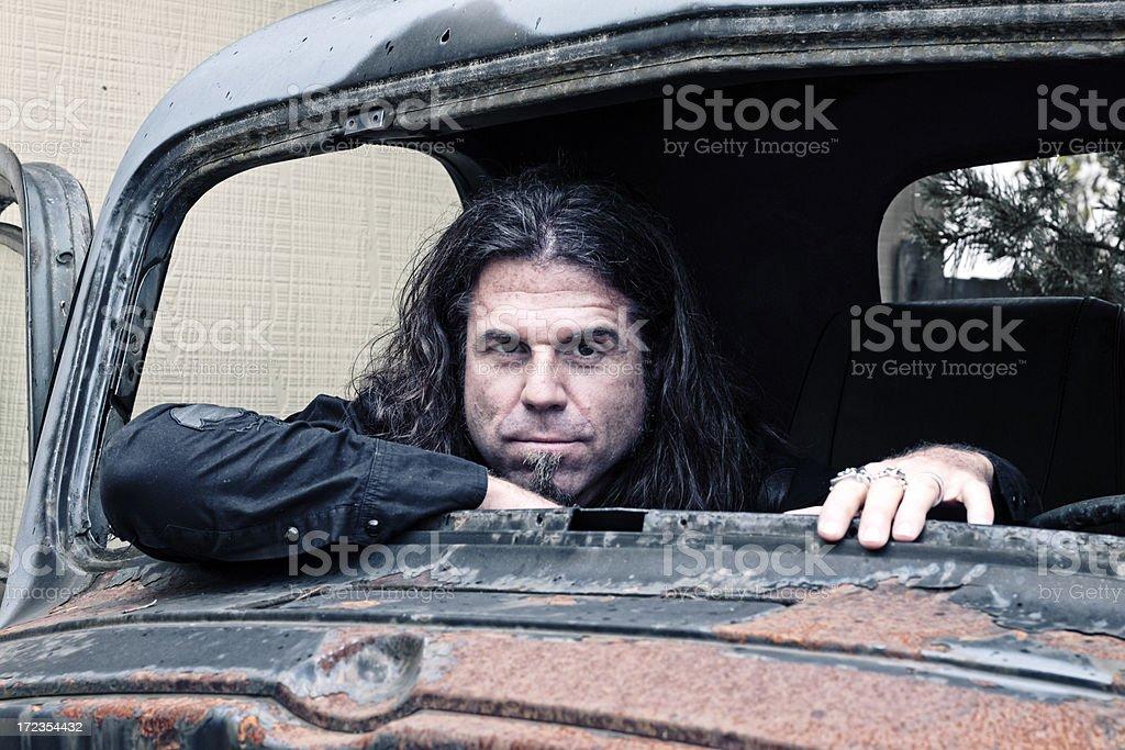 Man in Broken Truck royalty-free stock photo