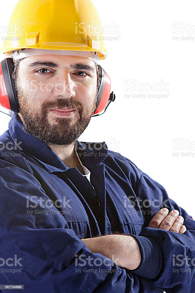 Man in building clothes stock photo