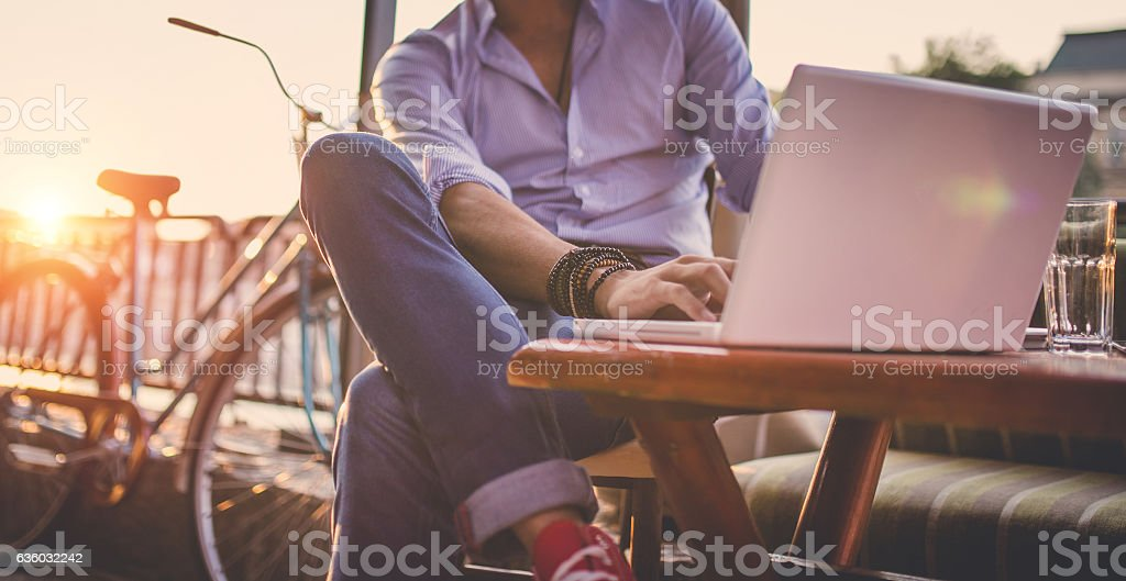 Man in cafe stock photo