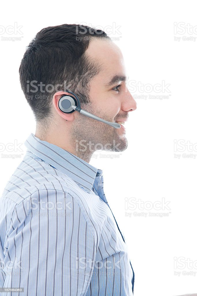 Man in Call Center with Headset royalty-free stock photo