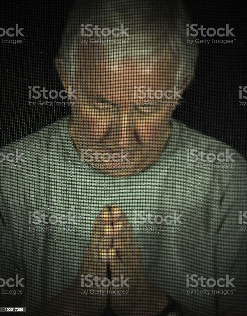 Man In Chuch Confessional stock photo