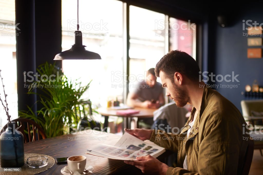 Man in coffee shop royalty-free stock photo