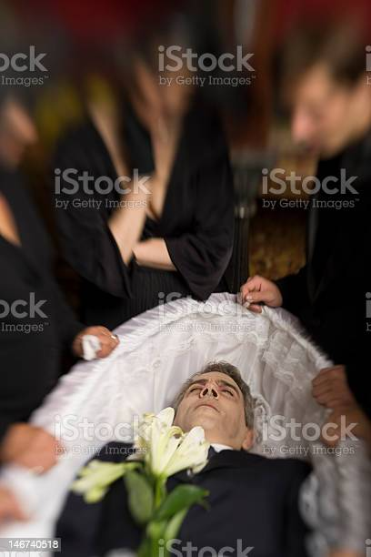 Man In Coffin Stock Photo - Download Image Now