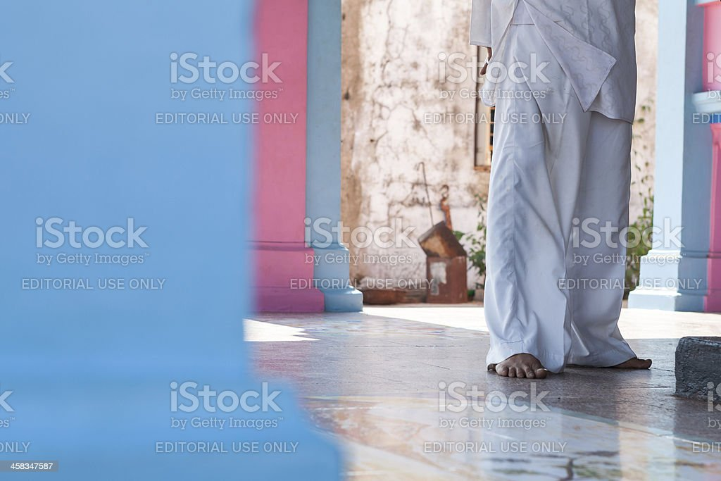 Man in colorful temple stock photo