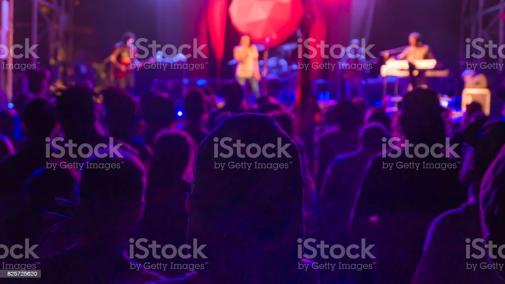 A man in concert crowd against the lights stock photo