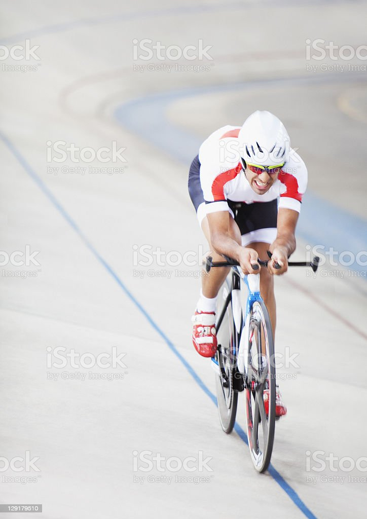 Man in cycling race stock photo