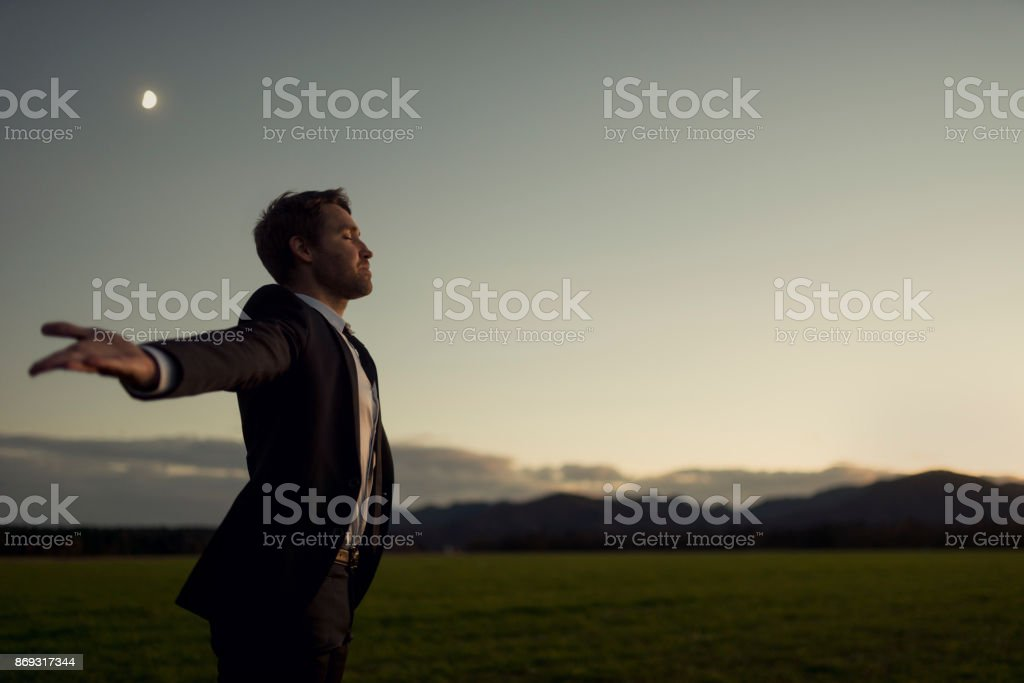 Man in elegant suit standing in nature with his arms spread widely stock photo