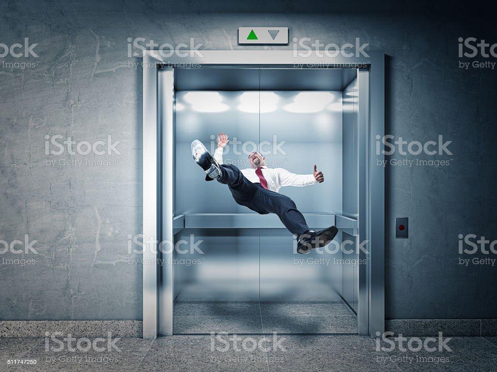 man in elevator stock photo