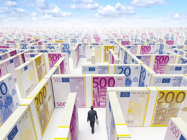 Man in EURO Maze Labyrinth stock photo