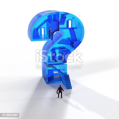 man in front of a glass question mark