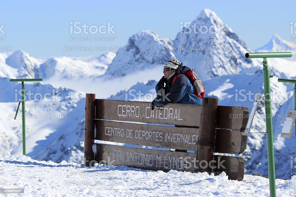 Man in front of Lynch Refuge 2 - Andes Patagonia royalty-free stock photo