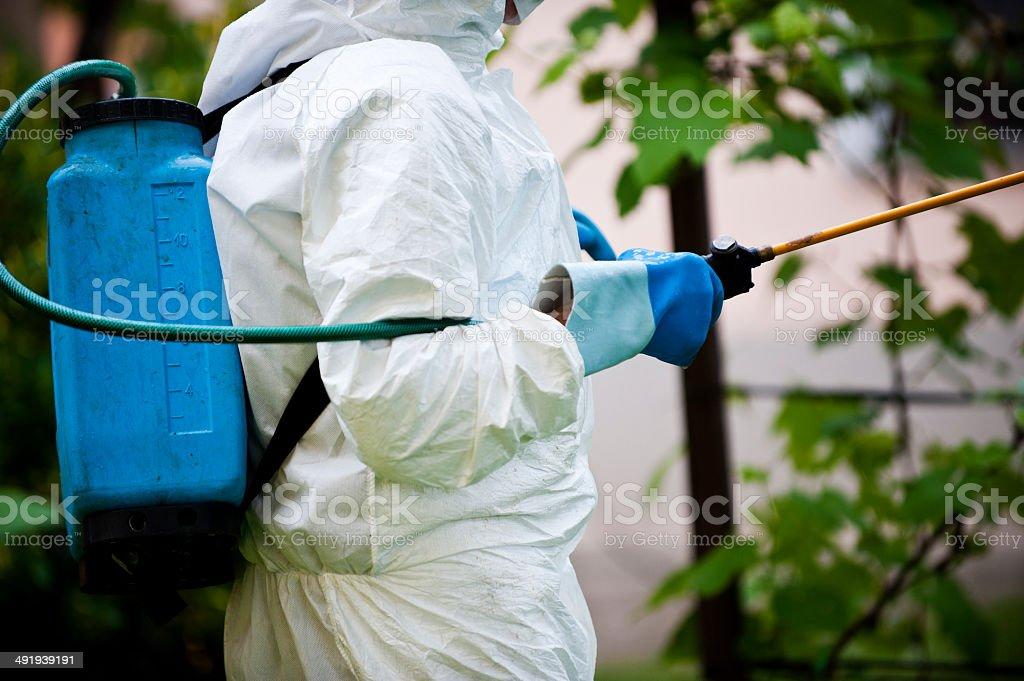 Homem em roupa de proteção integral jogando produtos químicos - foto de acervo