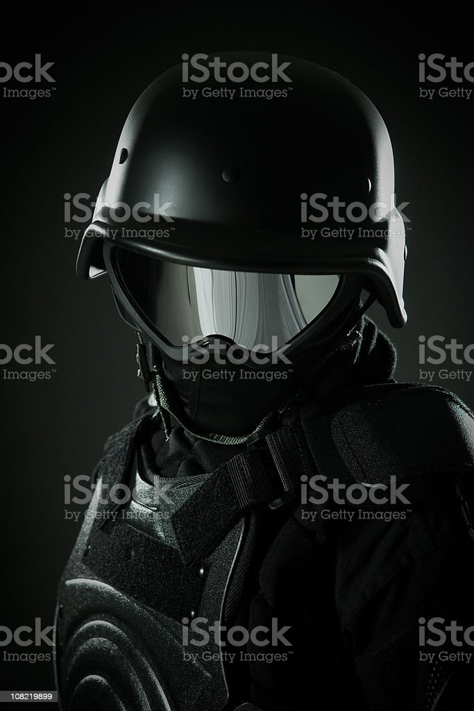 Man in Full Security Riot Police Gear royalty-free stock photo