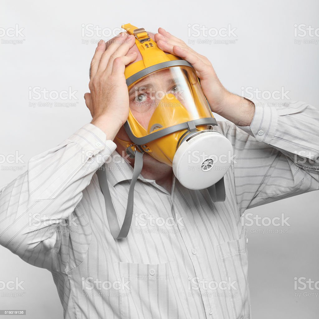 Man in gas mask. stock photo