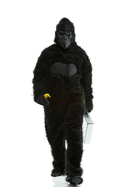 Hombre en gorila comstume con maleta y de banana - foto de stock