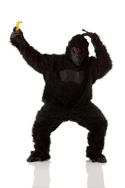 Hombre en traje de retención de tipo banana gorilla - foto de stock