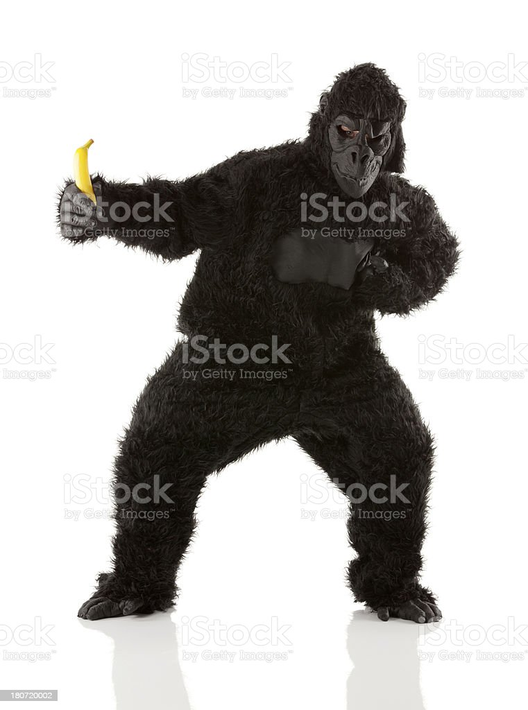 Man In Gorilla Costume Holding Banana Royalty Free Stock Photo Only From IStock