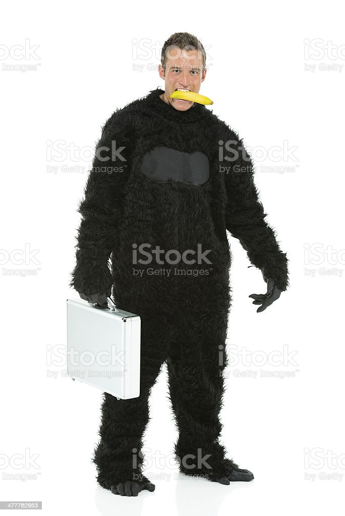 Man in gorilla costume with a banana royalty-free stock photo