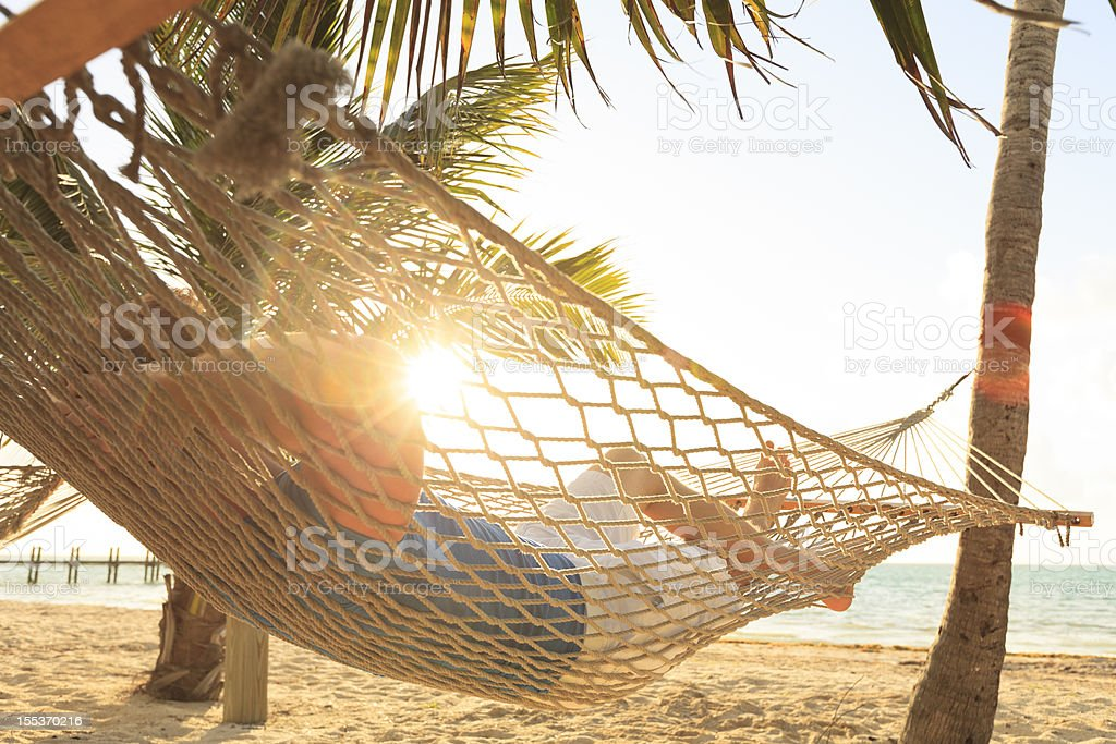 Man in hammock royalty-free stock photo