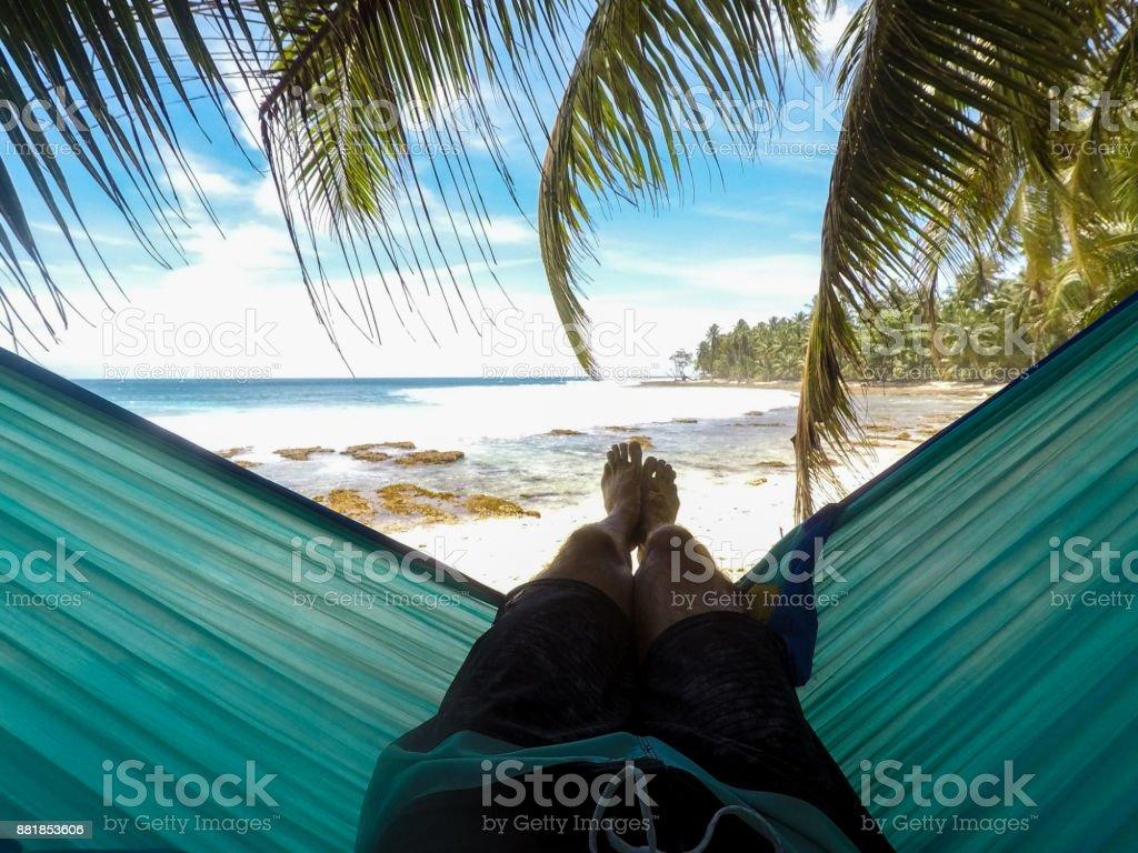 Homem em rede sob palmeiras - foto de acervo