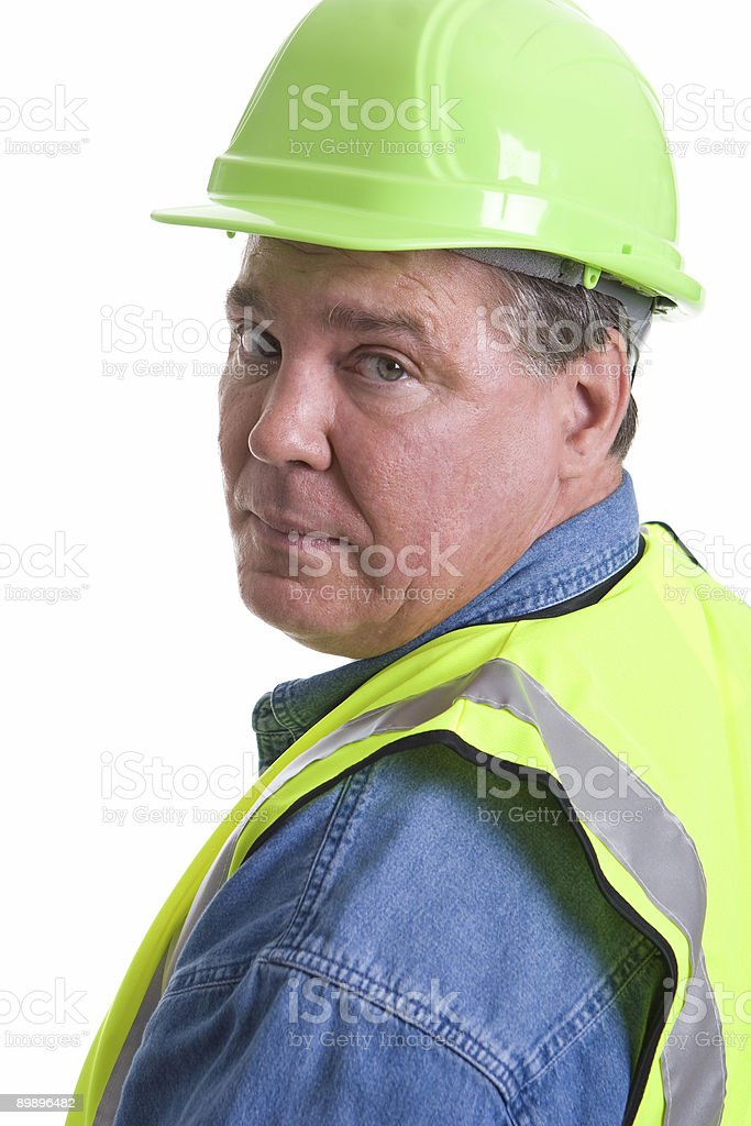 Man in hard hat and safety vest royalty-free stock photo