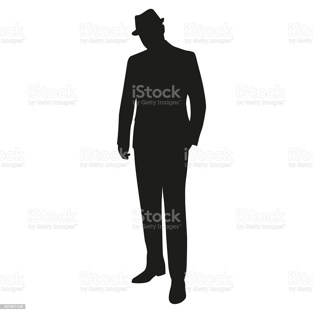 Man in hat, isolated silhouette