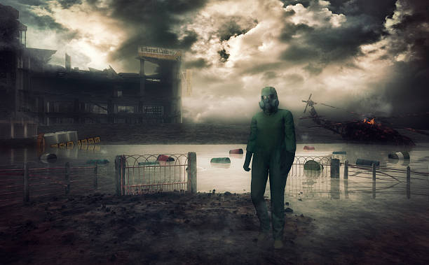 man in hazmat suit walking in destroyed environment - white suit stock photos and pictures