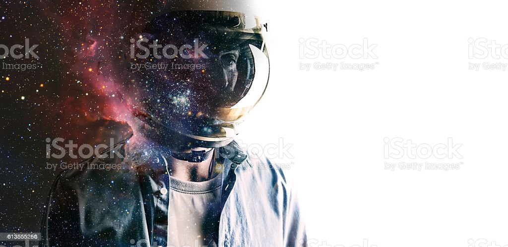 Man in helmet with starry sky on shield – zdjęcie