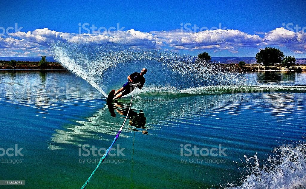 Man in his 50s Slalom Water Skiing stock photo