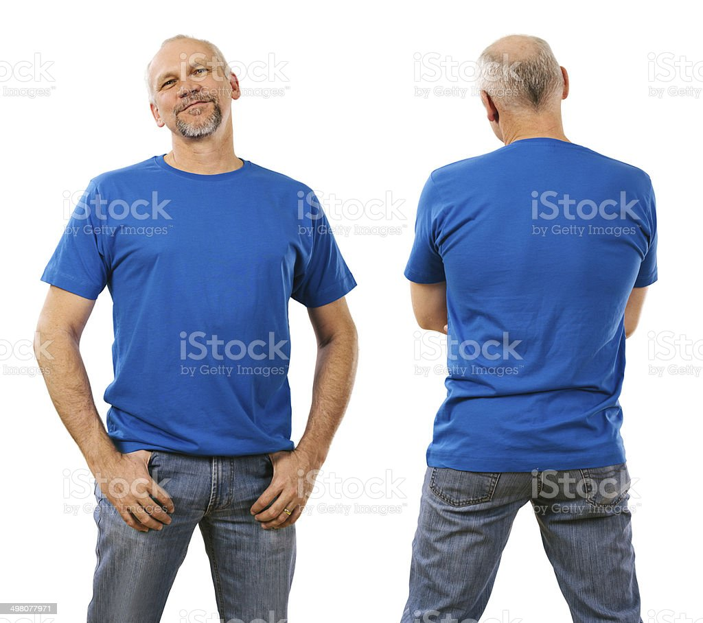 Man in his forties wearing blank blue shirt stock photo